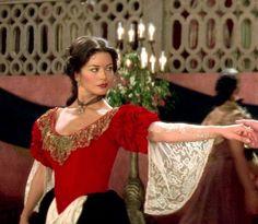 Catherine Zeta-Jones as Elena Film: Mask of Zorro Costumes by Graciela Mazon Catherine Zeta Jones, Dr Jivago, Zorro Costume, The Mask Of Zorro, Bobby Darin, Julie Christie, Sandra Dee, Gina Lollobrigida, Angela Lansbury