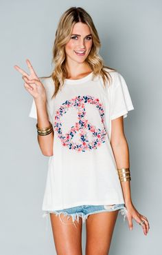 Oliver Tee - Flower Peace Sign Graphic | Show Me Your MuMu