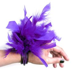Leather Cuff Bracelet EcoAlternative Party Prom Corsage Wristband with Purple Feathers, Unique, OOAK  $25 by Greenbelts