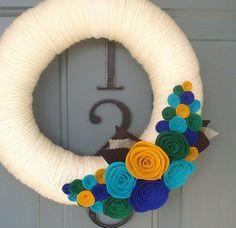 Yarn Wreath Felt Handmade Door Decoration Peacock by ItzFitz