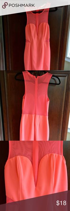 Neon Pink Formal Dress Sheer back, cutouts and chest; plunging neckline Dresses Mini
