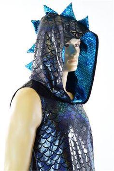 Mens Sleeveless Black Dragon Aquamarine Spiked Dragon Hoodie