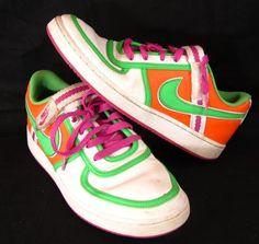 Nike Vandal Low Women's Orange Green White Tennis Shoes Sneakers Size 10 Retro #Nike #BasketballShoes