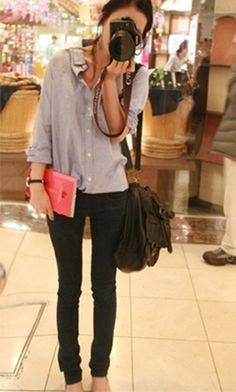 button down and black skinnies