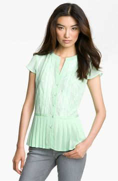 Mint green seems to be on trend.  Hinge® Lace Pleated Peplum Blouse available at #Nordstrom
