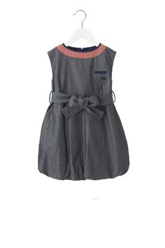 Volumnious chambray dress with fun contrast round neck, removable tie front belt, and signature LMJ mouse embroidery.