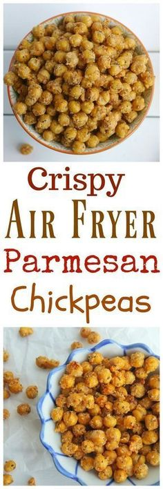 Crunchy on the outside and creamy on the inside these Crispy Air Fryer Parmesan Chickpeas are the perfect snack on their own or toss them on top of salads or into a snack mix. Making chickpeas in the air fryer is a quick and easy way to achieve the perf Air Fryer Oven Recipes, Air Frier Recipes, Air Fryer Recipes Dessert, Air Fryer Recipes Appetizers, Air Fryer Recipes Vegetables, Air Fried Food, Healthy Snacks, Healthy Recipes, Chickpea Recipes