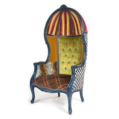Just one of these could brighten up a room!!! MacKenzie-Childs - The Royals Bonnet Chair
