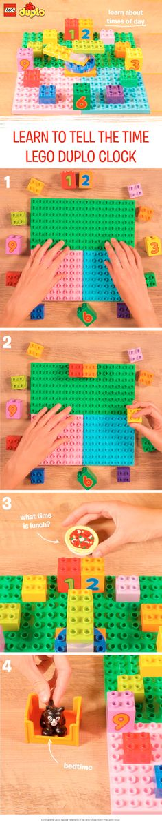 This simple visual activity is a great way to help your toddler learn to tell the time and recognize their daily routine. Customize the clock with any relevant LEGO DUPLO accessories you have to help teach them about your family's daily life. Don't worry if you don't have number bricks, you can use sticky notes and a pen instead. Don't have the rotating piece for the clock hands? Just use regular bricks and move them by hand!