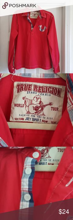 True Religion Joey Super T. Red with navy, red and white plaid accents, Joey Super T in a size medium. Great used condition. As with all True Religion products,  made in the USA! True Religion Shirts