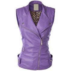 MBJ Womens Faux Leather Moto Vest ($30) ❤ liked on Polyvore featuring outerwear, vests, faux leather vest, vest waistcoat, fake leather vest and purple vest