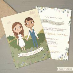 Custom Country Wedding Invitation   Couple Portrait by ClareVacha