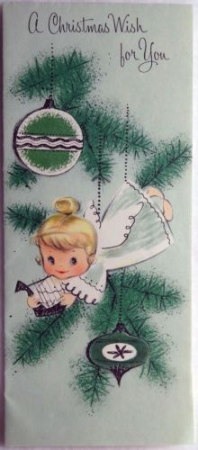 #94 50s Angel in the Tree w/ Ornaments-Vintage Christmas Greeting Card