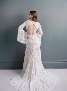 Open Back Wedding Dress | Lace Boho Wedding Dress