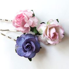 Pinks Violet Mulberry Paper Rose Bobby Pins x3, Handmade, Kirby Grips | CrystalBazaar - Accessories on ArtFire