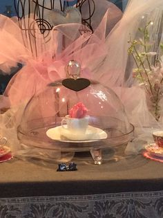 Pink roses and cake stand