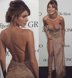 Backless Champagne Gold Sequin Prom Dress with Slit Backless Champagne Gold Pailletten Abendkleid mit Schlitz Matric Dance Dresses, Sequin Prom Dresses, Grad Dresses, Ball Dresses, Evening Dresses, Sparkly Dresses, Backless Prom Dresses, Prom Gowns, Quinceanera Dresses