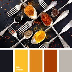 Spices! Graphite does not make this palette gloomy, on the contrary, it makes turmeric, paprika, and other oriental spices shine with appetising colors. All of this is constrained by the cold glitter of precious metal. You can use it in the design of a cafe or restaurant and retail outlets, where the food is represented: sauces, spices.