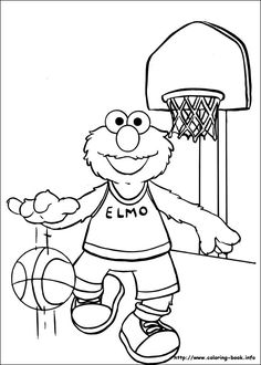 Elmo Playing Basketball Coloring Page  printable dodads