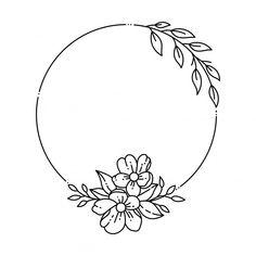 Hand Embroidery Patterns Flowers, Simple Embroidery, Hand Embroidery Designs, Broderie Simple, Wreath Drawing, Floral Drawing, Flower Pattern Drawing, Drawings, Freepik Vector