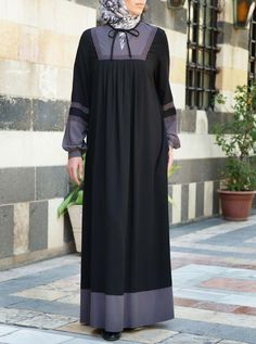 Lace Contrast Abaya - Abayas - Women Iranian Women Fashion, Islamic Fashion, Muslim Fashion, Abaya Fashion, Fashion Wear, Fashion Dresses, Prom Dresses With Sleeves, Modest Dresses, Hijab Evening Dress