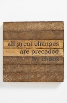 'All Great Changes' Wood Wall Plaque available at #Nordstrom