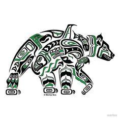"Haida Art Style Bear ""Kodiak"" - Pacific Northwest Coast Style Bear Art Print (Choose your colo Haida Tattoo, Simbolos Tattoo, Native American Symbols, Native American Design, American Indian Art, Native Symbols, Native American Artists, Arte Haida, Haida Art"