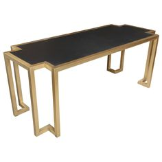 French Brass and Leather Writing Table