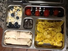Trail mix, olives and tomatoes, plantain chips, turkey roll ups, and dark chocolate dessert!
