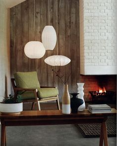 george nelson lamp, interior, living room, mid centruy modern, white, green, danish chair