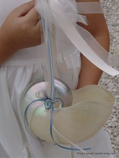 Pearl Nautilus Flower Girl Basket with Flowing Ribbons for any Beach Wedding