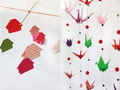 #DiY #origami.Another good reason to keep on folding cranes.Love the houses also