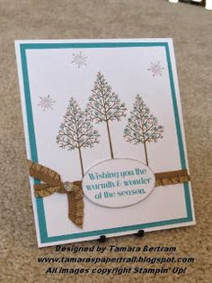 Handmade Christmas card; Warmth & Wonder; Stampin' Up!; Tamara's Paper Trail