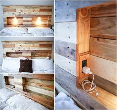 A cool pallet bed headboard made from recycled pallets and with integrated lights!