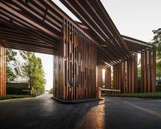 Burasiri Khon Kaen Landscape Design by Shma – Wison Tungthunya & W Workspace Entrance Design, Entrance Gates, Main Entrance, Gate Design, Main Gate, Entrance Ideas, Main Door, Modern Landscape Design, Landscape Plans