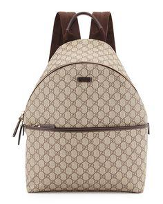 N2YJ2 Gucci GG Supreme Canvas Backpack, Beige Leather Backpack, Backpack  Bags, Canvas Backpack eaa72e997c