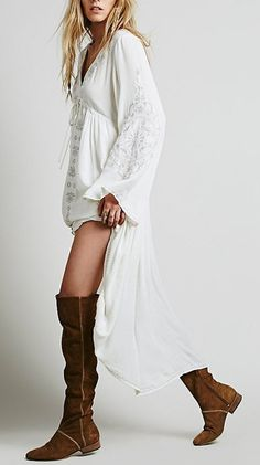 Embroidered Deep V-Neck Cotton Linen Casual Loose Boho Asymmetry Dress S-3XL 5 Colors-Loluxe