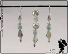 Light Teal Crystal Pendant and Earring Set by IVsSpecialtyShoppe