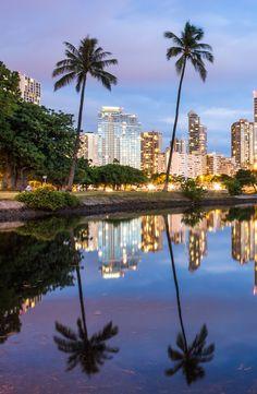 Dusk view of Waikiki from Ala Moana Beach Park pond