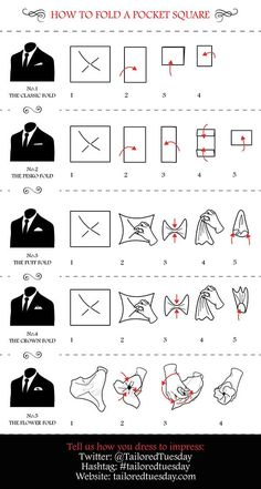 Cool #infographic from @TailoredTuesday 'How to fold a Pocket Square' #tailoredtuesday