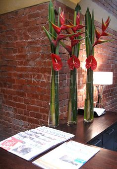 Kate Hill Flowers | Gallery - Red Anthurium with Heliconia
