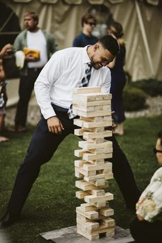 Outdoor wedding reception entertainment with large jenga wedding games Dream Wedding at Zephyr Cove Jenga Wedding, Wedding Tips, Wedding Photos, Wedding Planning, Gown Wedding, Lace Wedding, Wedding Dresses, Rustic Wedding, Autumn Wedding