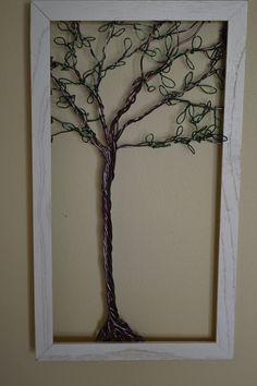 Framed Wall Art Jewelry Holder Wire Tree with Leaves -Useful Art. $44.00, via Etsy.