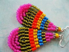 Native American Seed Bead Patterns | Seed Bead Earrings - Blue, Pink, Yellow,Orange and Green - small ...