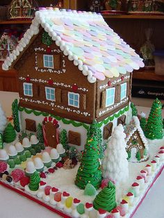 A two-story Gingerbread house. This is my kind of gingerbread house. Gingerbread House Parties, Christmas Gingerbread House, Christmas Sweets, Christmas Goodies, Christmas Baking, All Things Christmas, Christmas Home, Christmas Holidays, Christmas Crafts