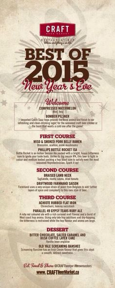Craft Beer Market New Year's Eve Brewmaster's Dinner in Southeast False Creek