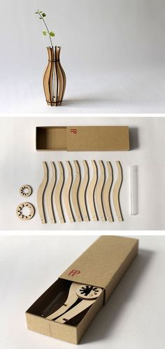 Plywood Vase - laser cut by Flat Packables Great idea for a book form
