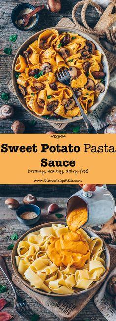 sweet potato pasta sauce with mushrooms, vegan alfredo, vegan cheese sauce, creamy sauce, vegan mac and cheese, healthy, dairy-free recipe