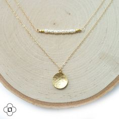 Layer Necklace Gold Bar Necklace Pearl Necklace by LandonLacey