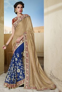 Bhagalpuri Silk & Net Machine Work Brown & Blue Saree - 8314